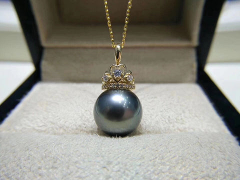 18k gold tahiti pearl crown necklace - Xingjewelry