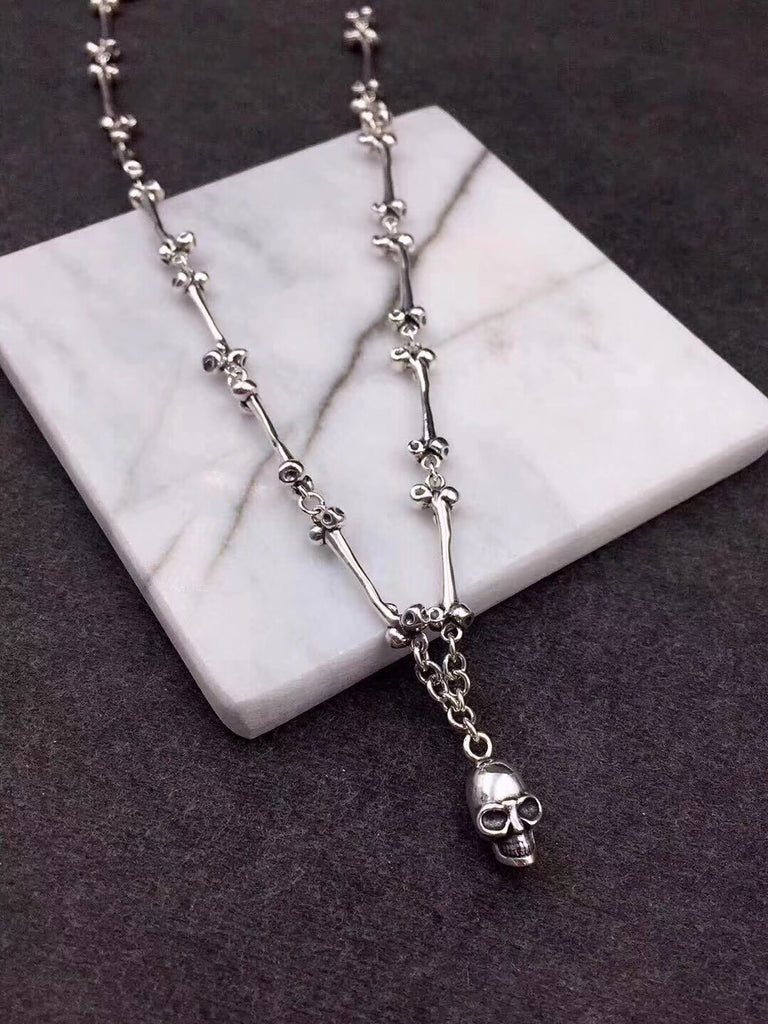 925 sterling silver skull head pendant necklace