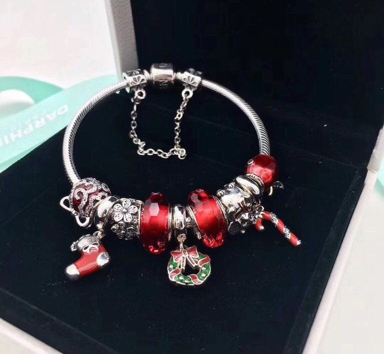 Pandora charm bracelet Christmas theme with safety chain
