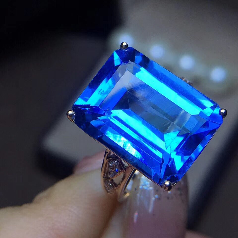 18k gold blue topaz stone diamond ring - Xingjewelry