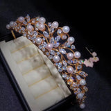 18k gold pearl tiara for lady / event /fashion show - Xingjewelry