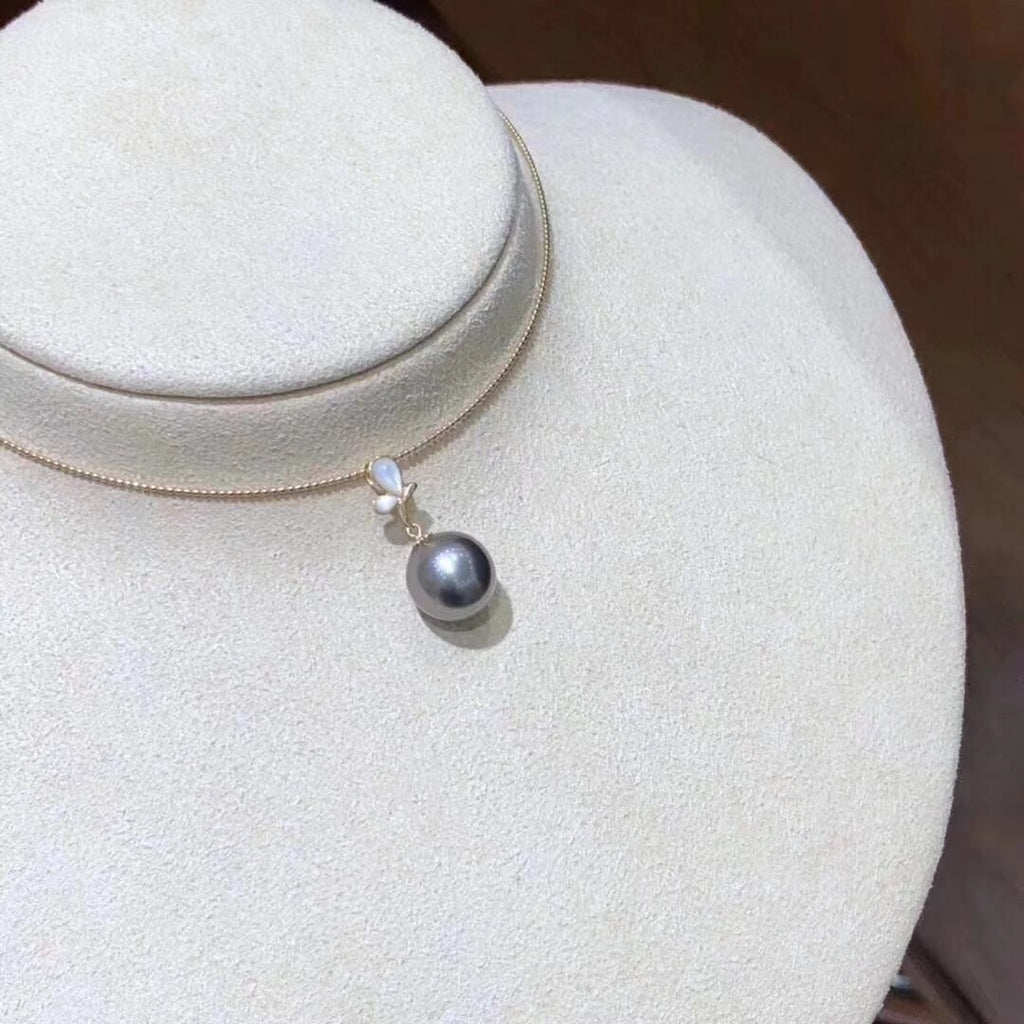 18k gold black tahiti pearl necklace - Xingjewelry