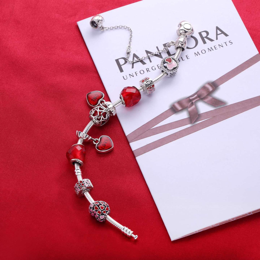 Pandora Valentine's Day red love heart charm bracelet