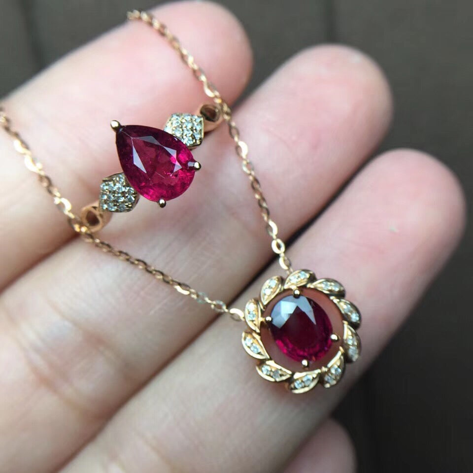 18k gold red tourmaline ring pendant set - Xingjewelry