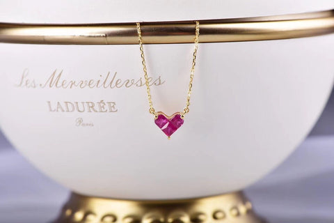 18k gold ruby heart pendant necklace - Xingjewelry