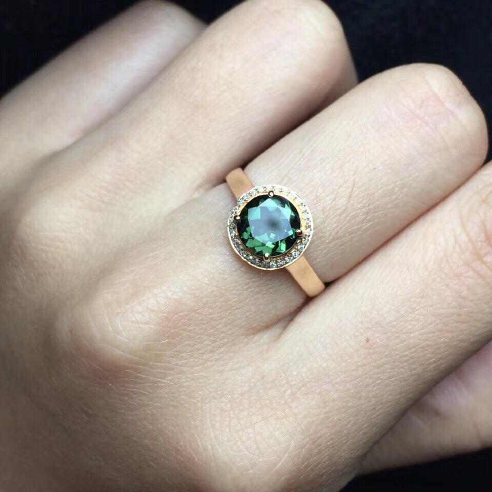 18k gold tourmaline stone diamond ring - Xingjewelry