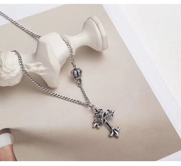 Sterling silver crown vintage cross pendant necklace