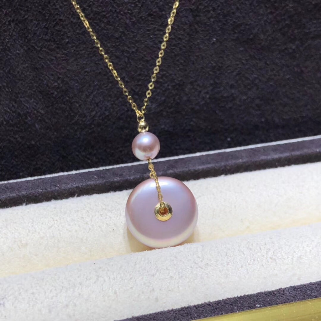 18k gold purple pearl pendant necklace - Xingjewelry