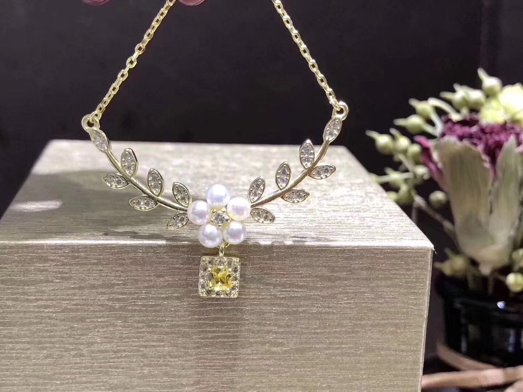 18k gold leaf flower diamond pearl pendant necklace - Xingjewelry