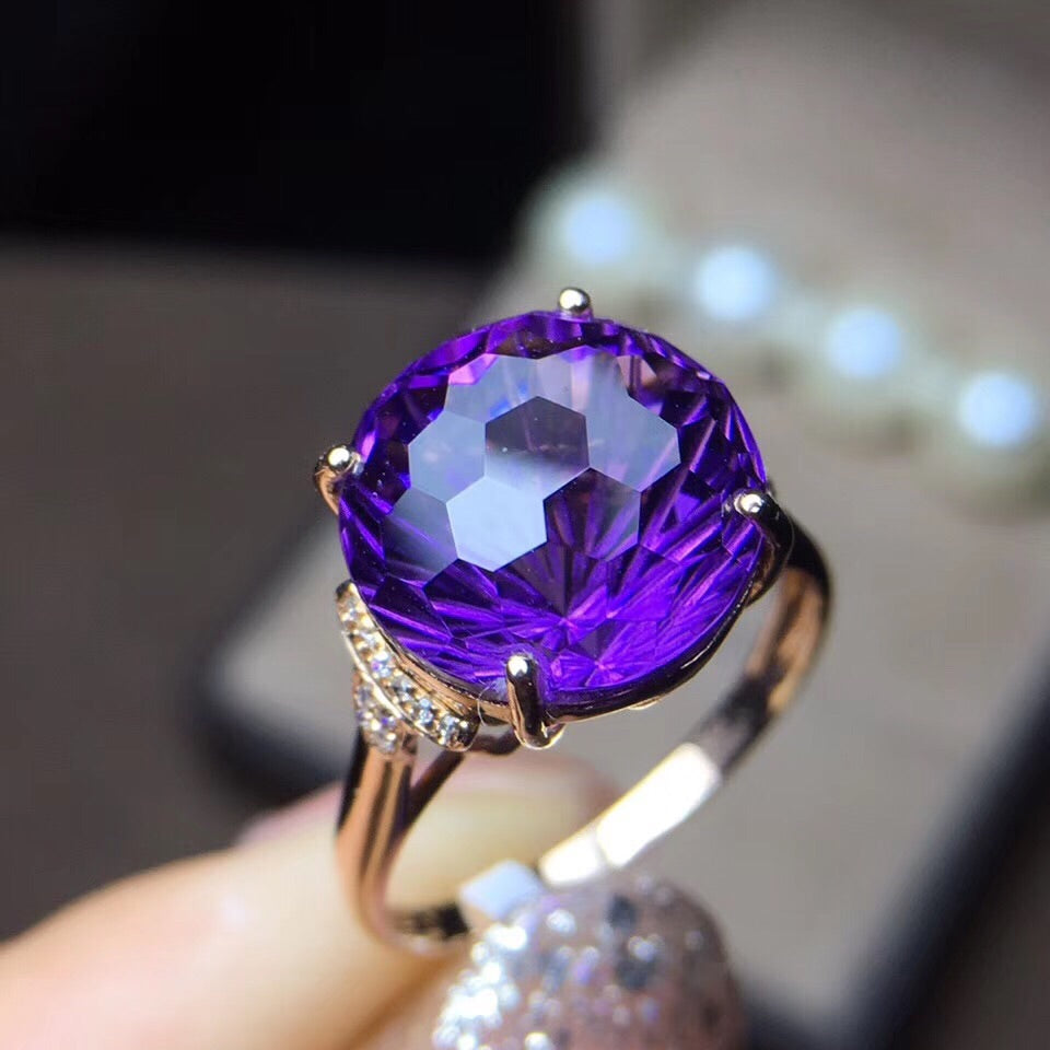 18k gold purple crystal ring - Xingjewelry