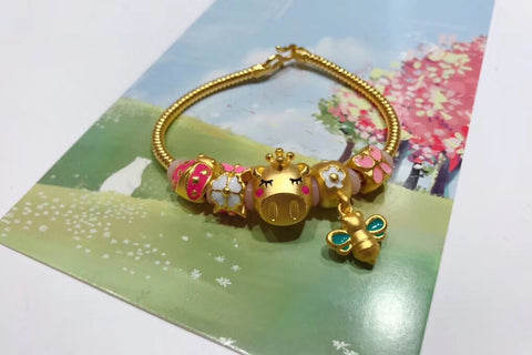 999 solid chinese pig year honey bee flower charm bracelet