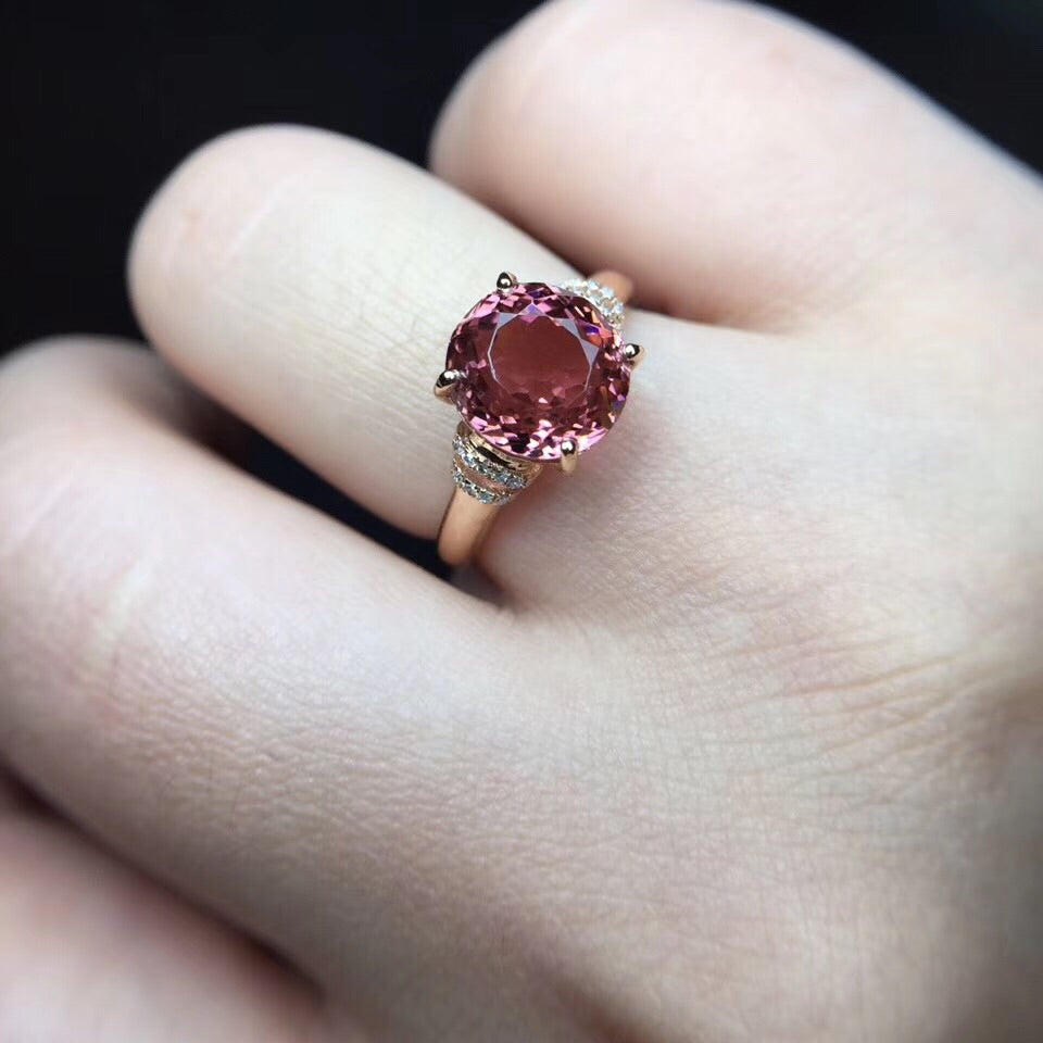 18k gold red tourmaline stone ring - Xingjewelry