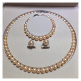 Natural pearl necklace bracelet earring  set