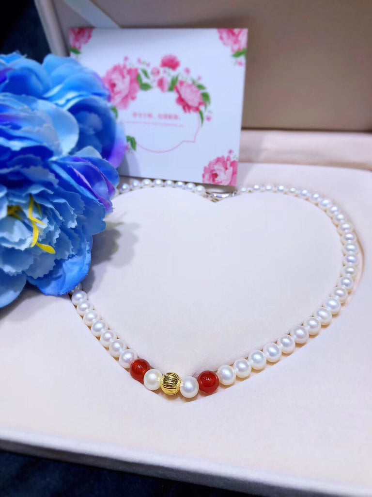18k gold natural white pearl necklace - Xingjewelry