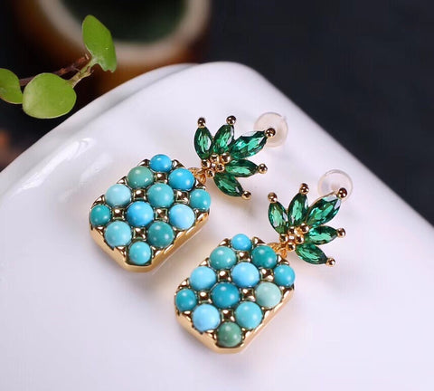18k gold pineapple turquoise stone earring - Xingjewelry