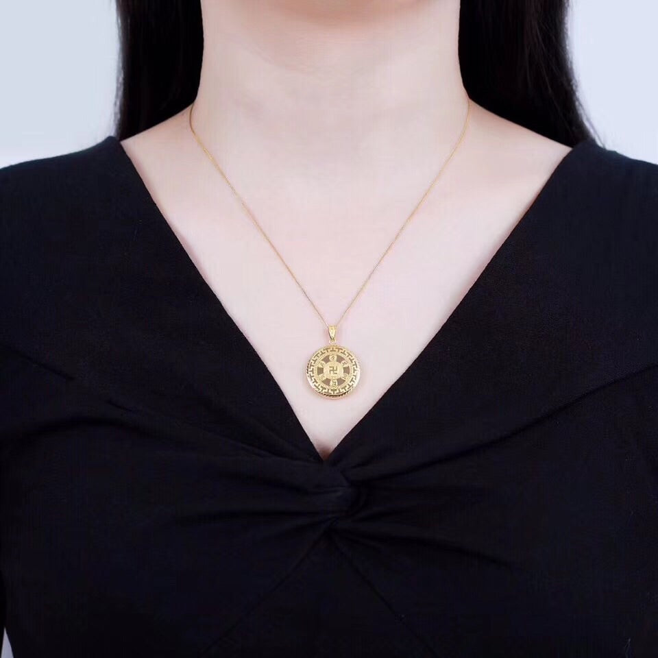 18k gold buddha Om Ma Ni Baid Me Hum pendant necklace - Xingjewelry