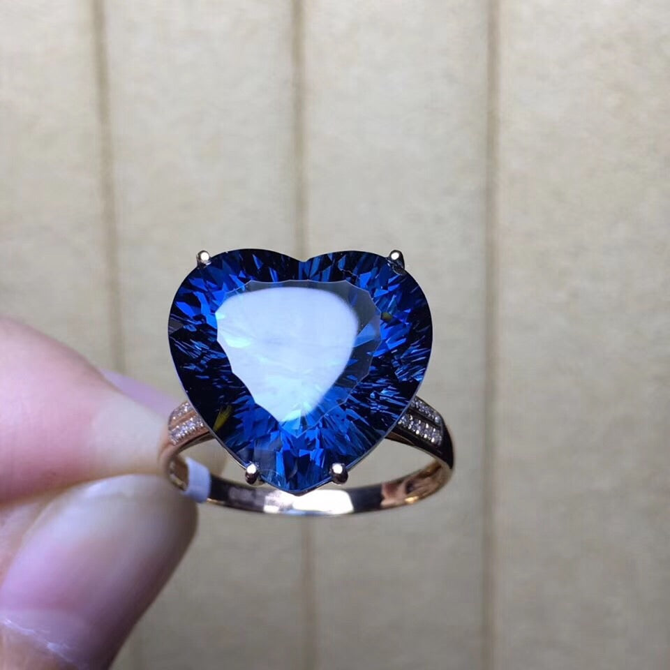 18k gold heart shape topaz stone ring - Xingjewelry