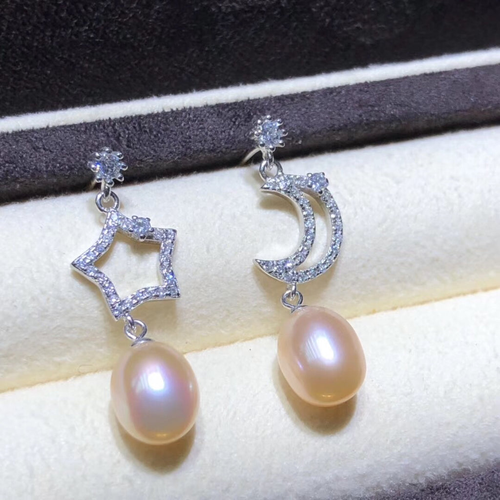 Gold plate star moon pearl earring