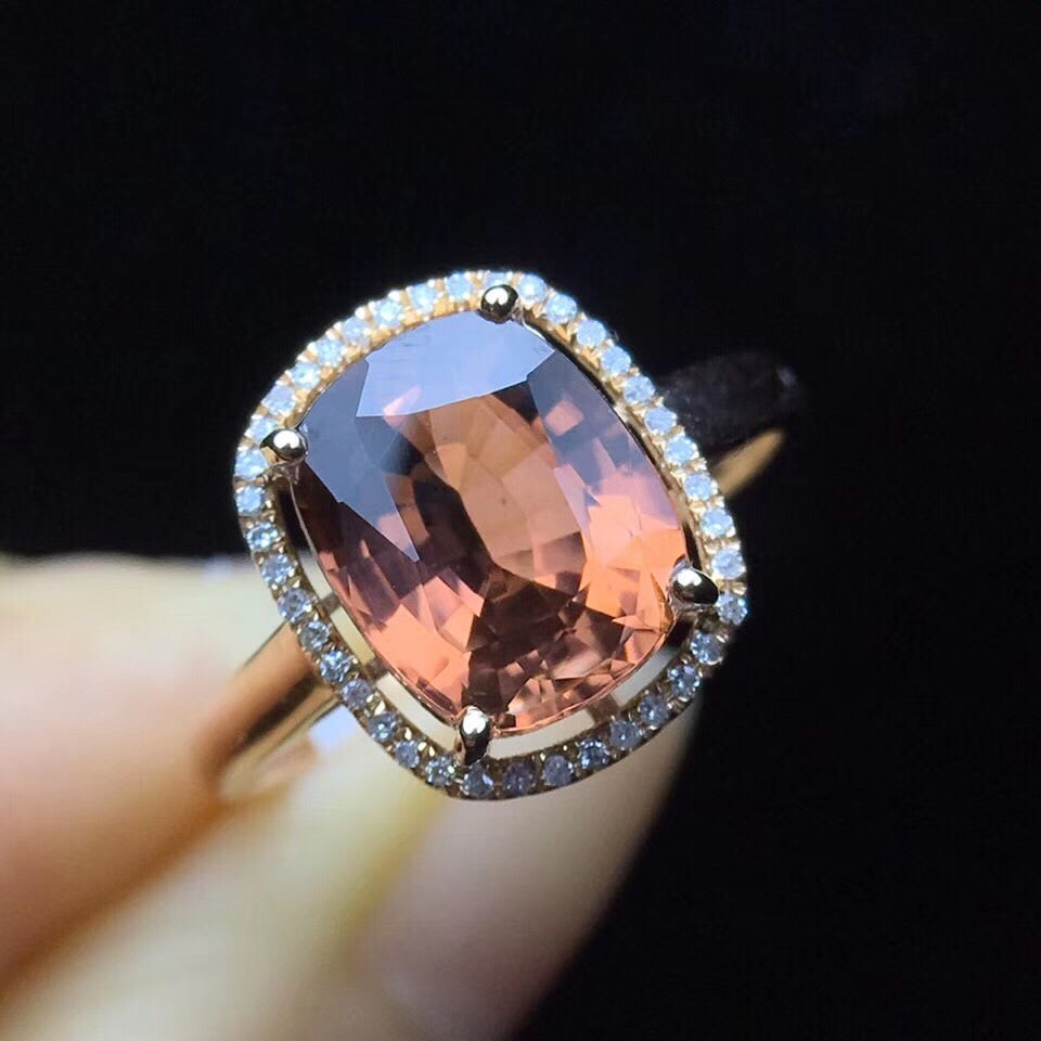 18k gold tourmaline purple diamond ring - Xingjewelry