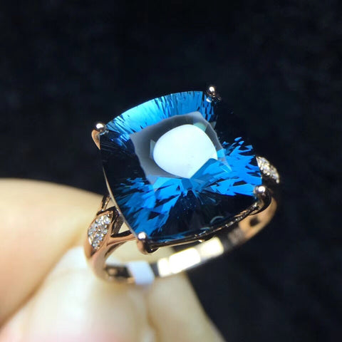 18k gold blue topaz ring - Xingjewelry