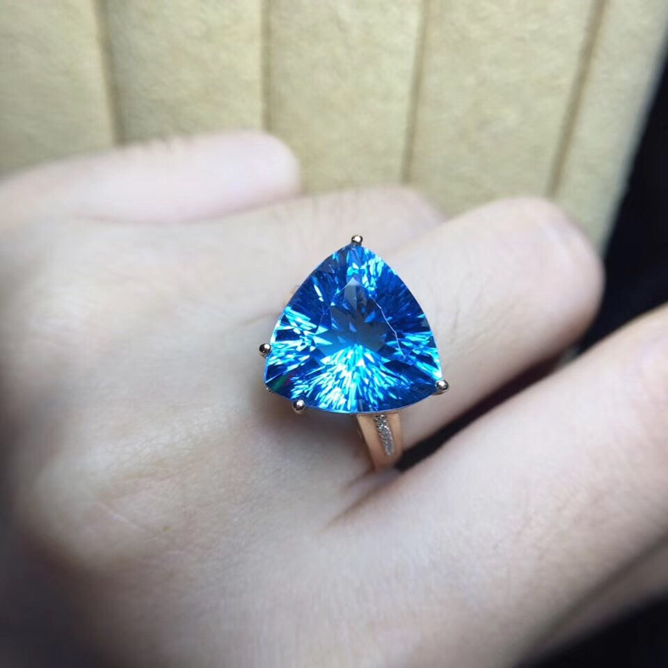 18k gold blue topaz stone triangle ring - Xingjewelry