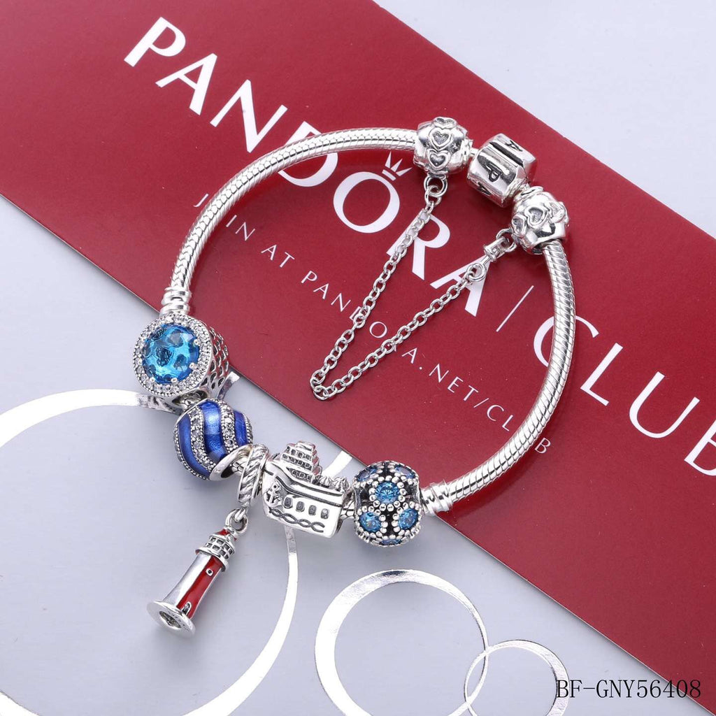 Pandora sea theme boat light house charm bracelet