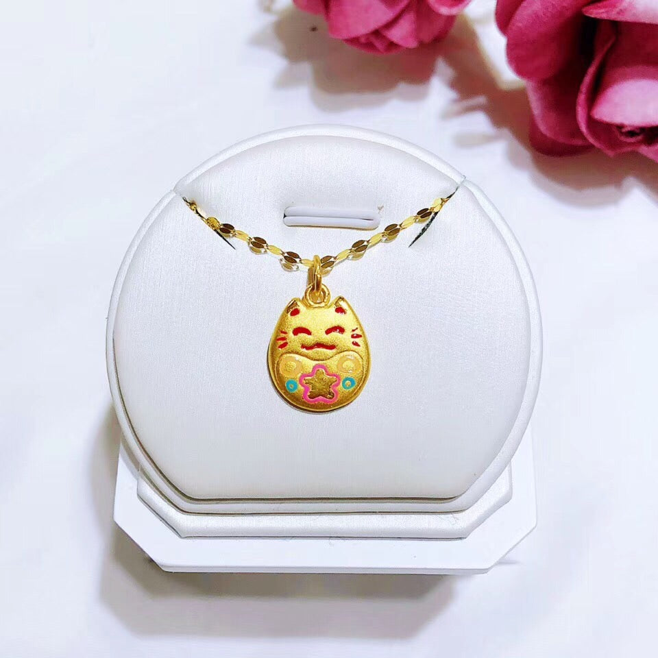 18k gold fortune cat pendant necklace - Xingjewelry