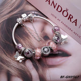 Pandora purple theme charm bracelet with 9 pcs charms