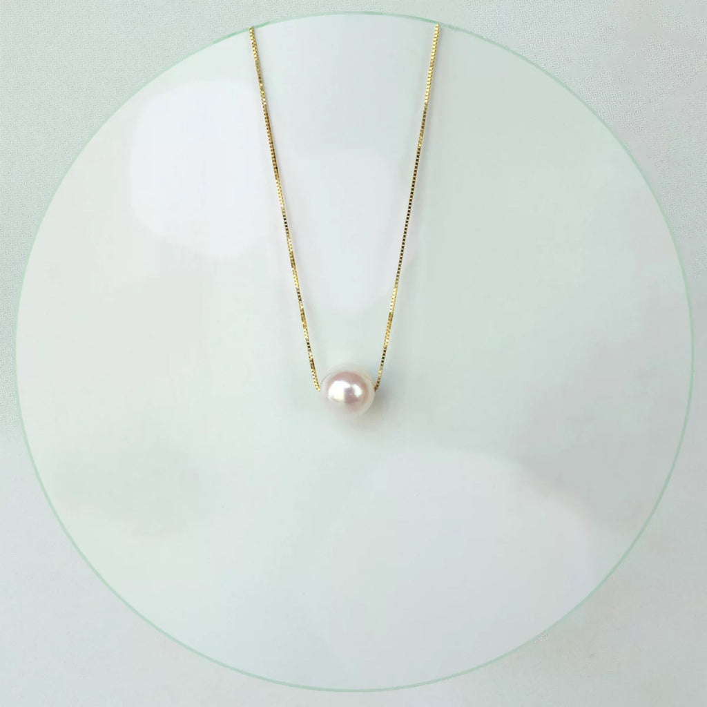 18k akoya white pearl pendant necklace - Xingjewelry