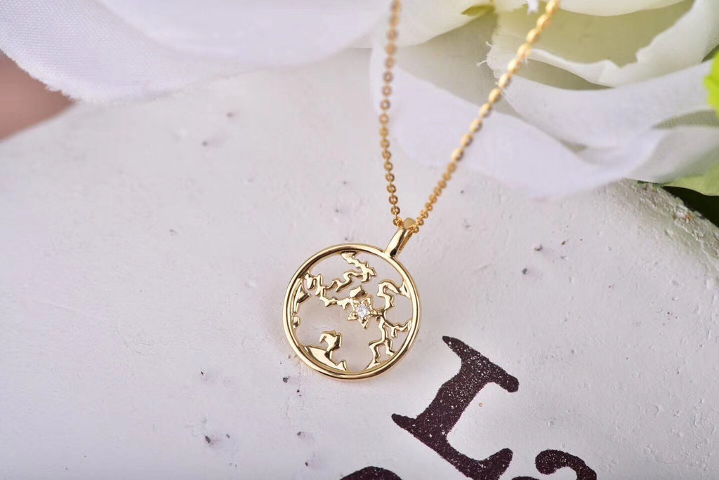 18k gold round pendant necklace - Xingjewelry