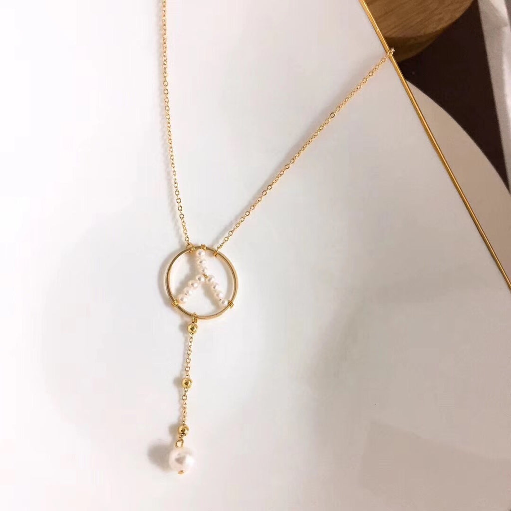 18k gold natural pearl mercedez Benz logo pendant necklace - Xingjewelry