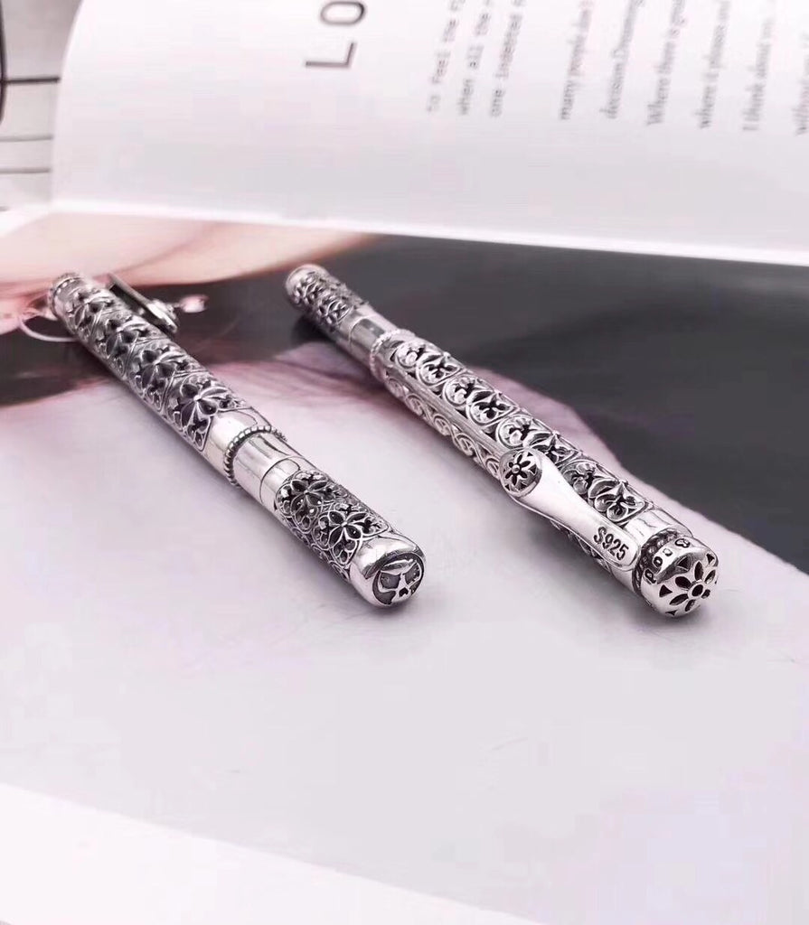 925 sterling silver chrome heart pen art