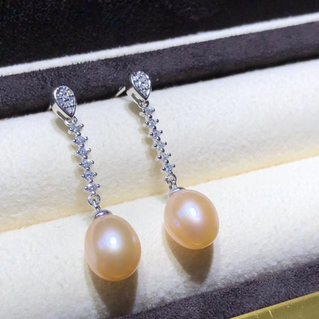 925 sterling silver gold pearl earring