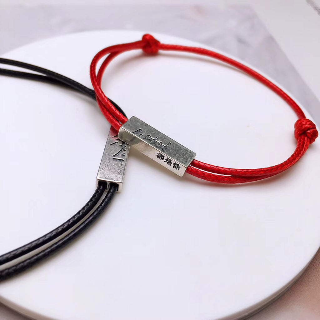 Leather 925 sterling silver coupe lovers bracelet for the rest life