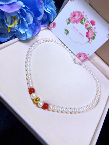 18k gold natural pearl necklace - Xingjewelry
