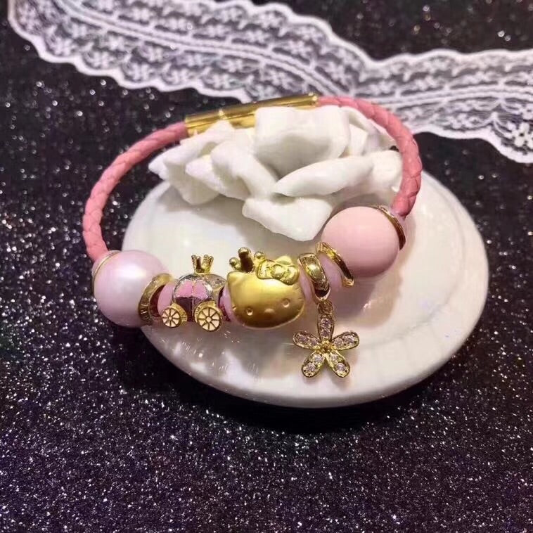 24k gold hello kitty pink leather charm bracelet - Xingjewelry