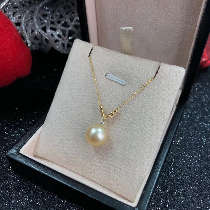 18k gold south sea golden pearl necklace - Xingjewelry