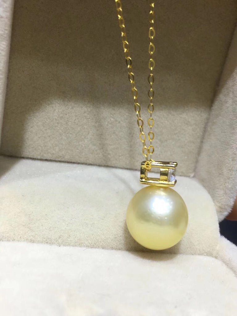 18k south sea golden pearl diamond necklace - Xingjewelry