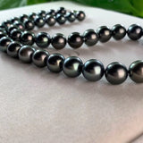18k gold Tahiti black pearl beaded necklace - Xingjewelry