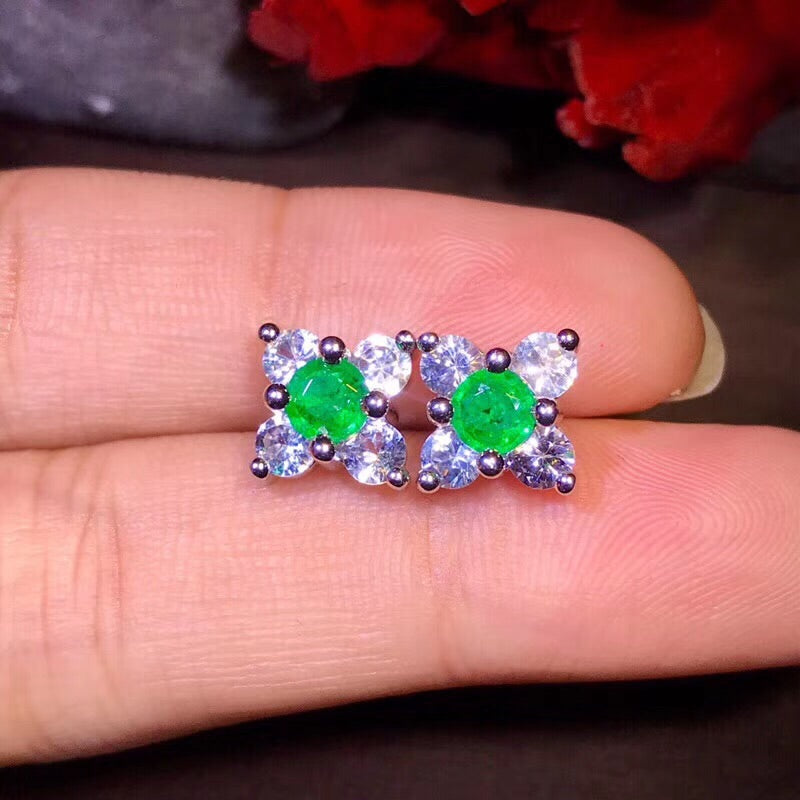 18k gold diamond emerald earring - Xingjewelry
