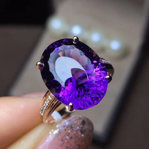 18k gold oval purple crystal  ring - Xingjewelry