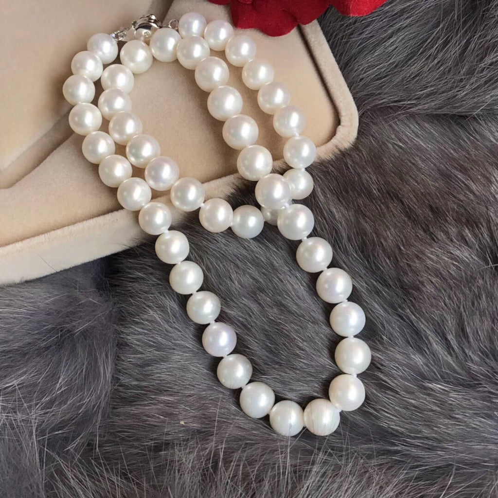 18k gold white natural pearl necklace - Xingjewelry