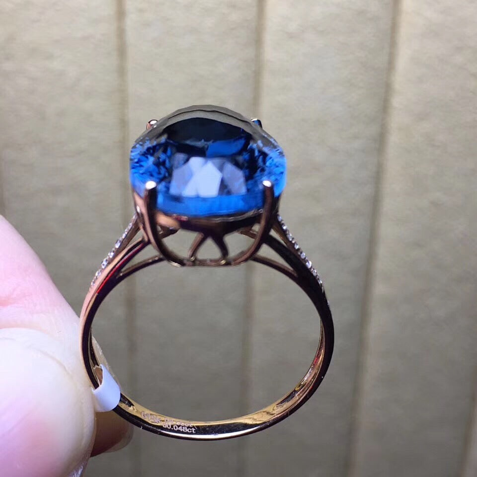18k gold blue topaz stone ring - Xingjewelry