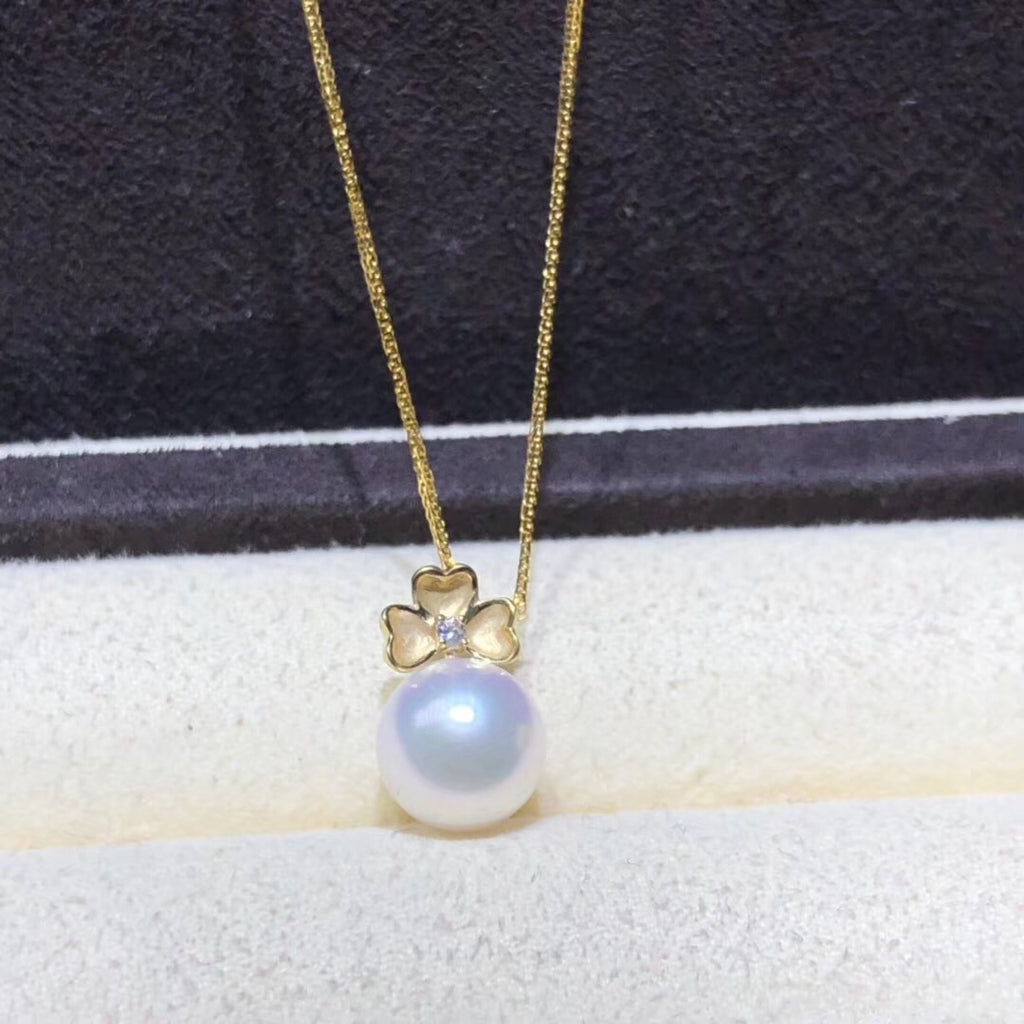 18k gold akoya pearl flower pendant necklace - Xingjewelry