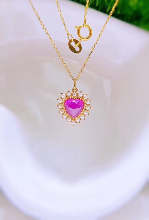 18k gold red corundum diamond pendant necklace - Xingjewelry