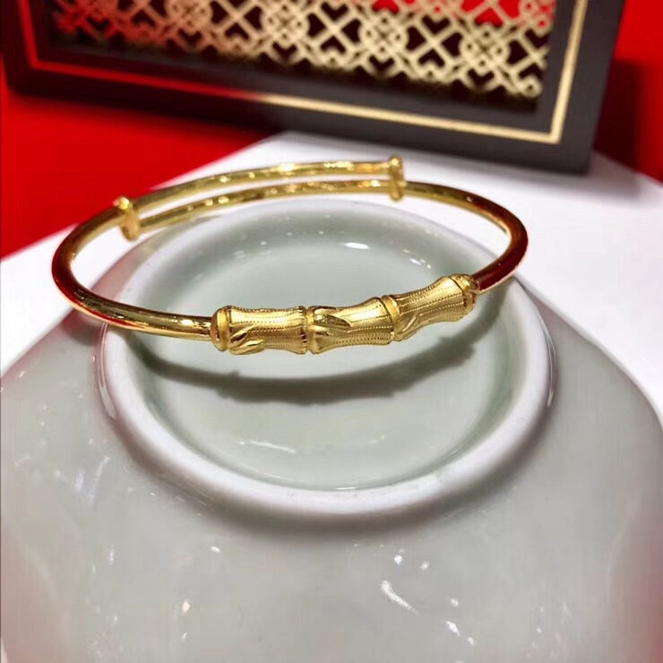 Solid gold bamboo push bangle bracelet