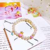 18k white pearl gold pink crown heart elastic bracelet - Xingjewelry