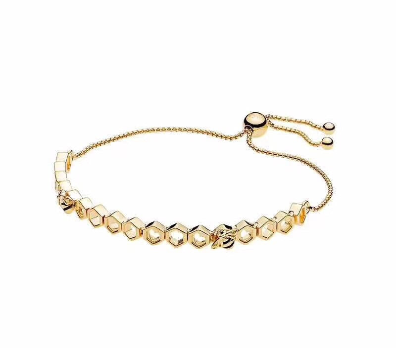 Pandora gold tone honey bee hive sliding bracelet