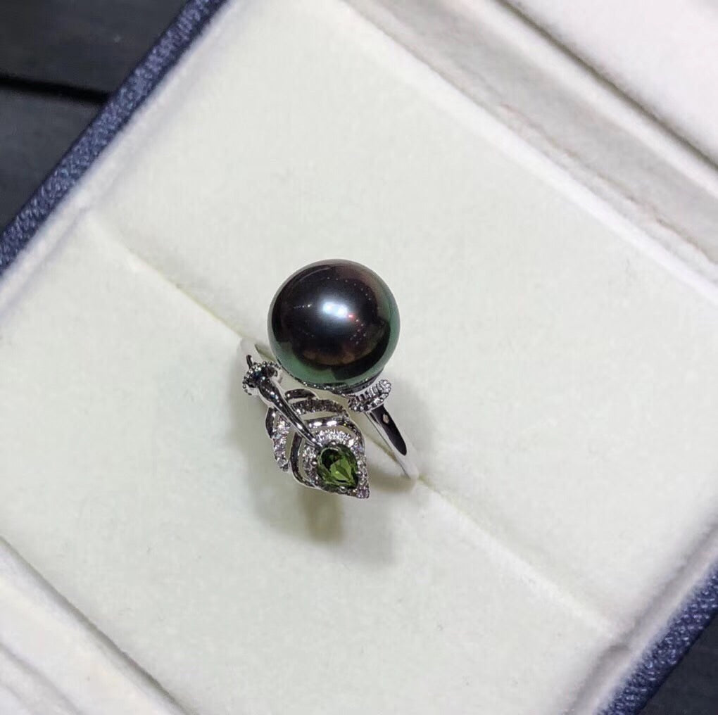 18k gold peacock green Tahiti pearl open ring - Xingjewelry