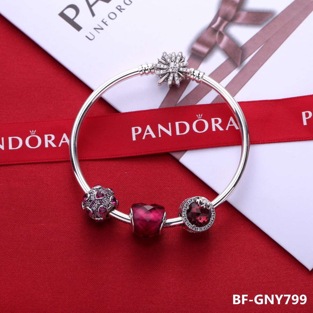 Pandora red theme love heart charm bracelet